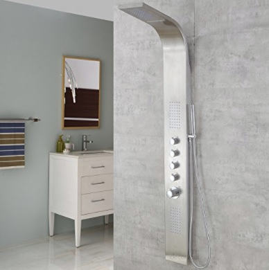 AKDY 63 Stainless Steel Thermostatic Rainfall Waterfall Style Multi-Function Shower Tower Panel Massage System w//Handheld Wand